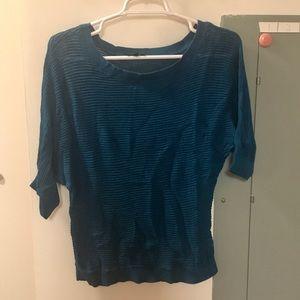 Express Blue/Green Knit Overlay Sweater